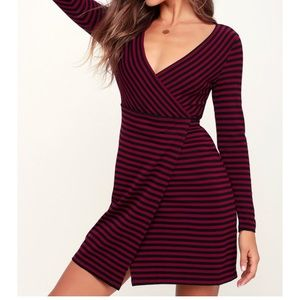 Maroon and black striped wrap dress